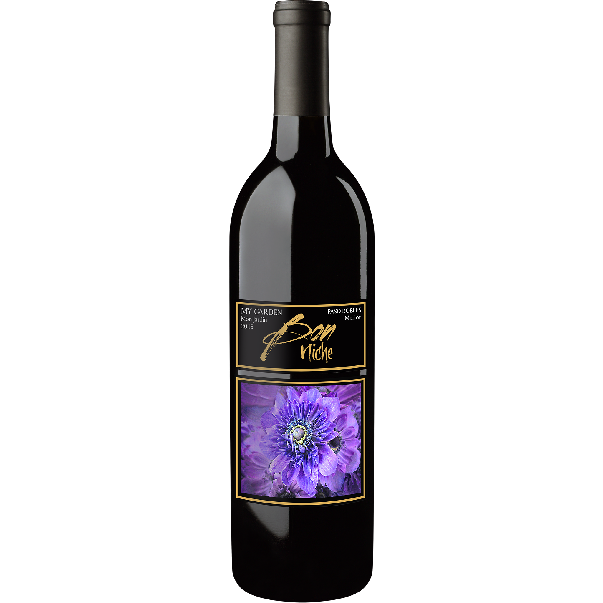 """2015 Merlot """"My Garden/Mon Jardin"""" bottle"""