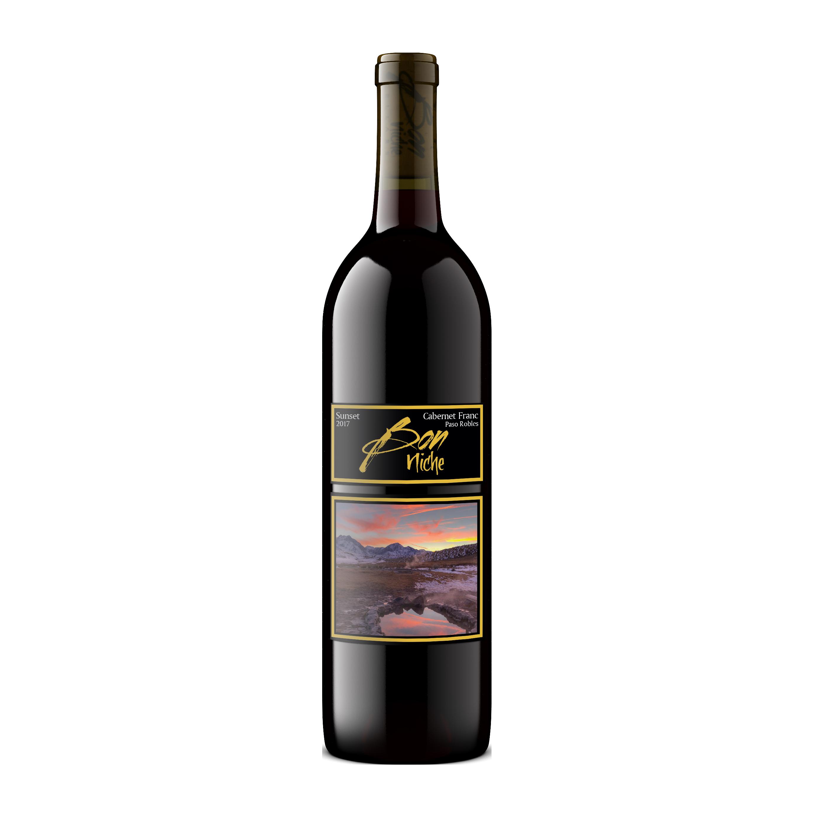 "2017 Cabernet Franc ""Sunset"" bottle"