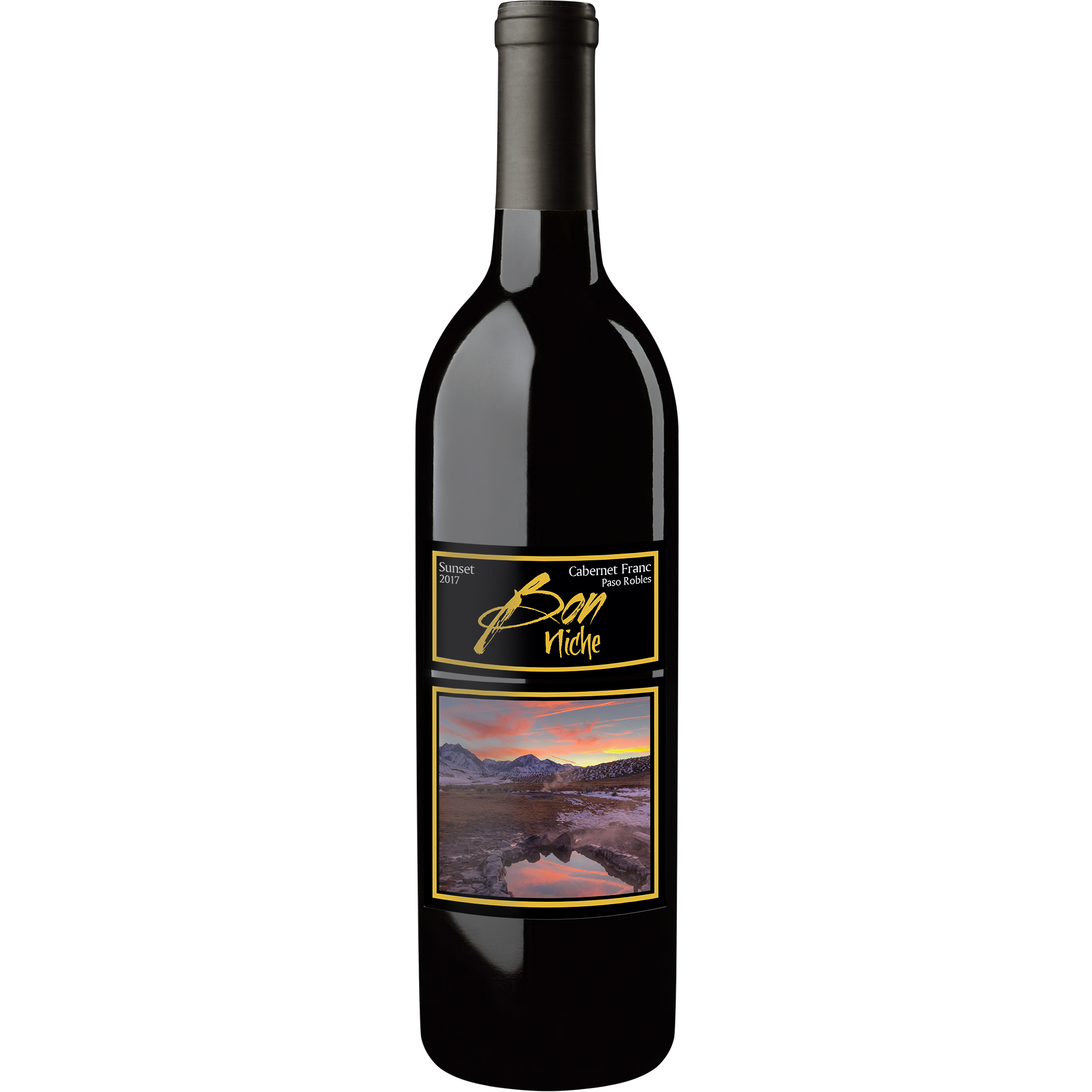 "2017 Cabernet Franc ""Sunset"" bottle"