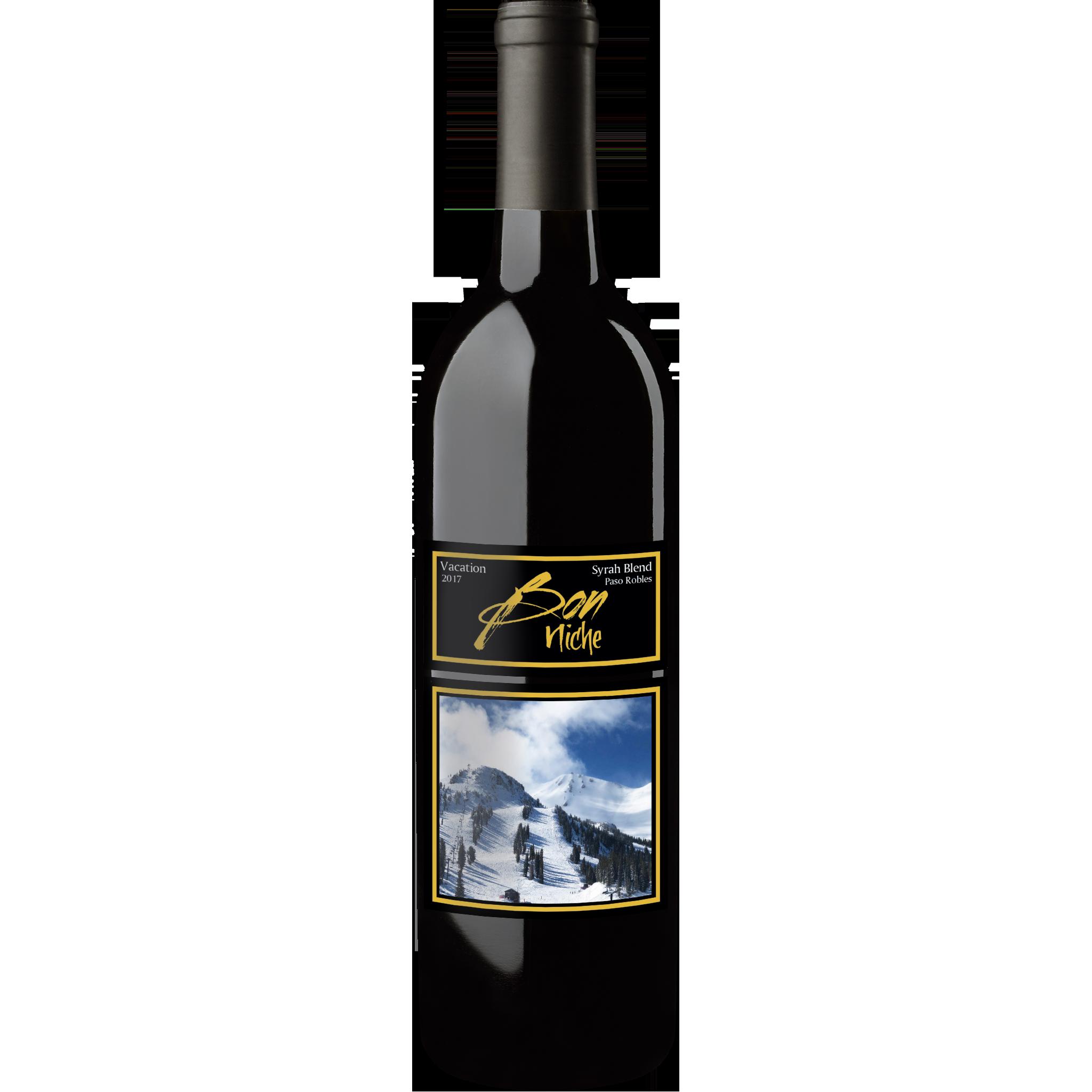"2017 Syrah Blend ""Vacation"" bottle"